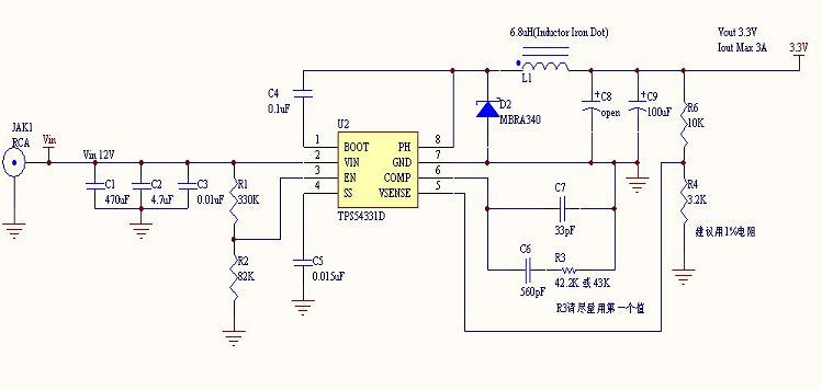 dc-dc电源芯片tps54331参考电路图(1)